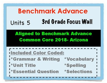 Benchmark Advance 3rd Grade Unit 5 Focus Wall Arizona Common Core
