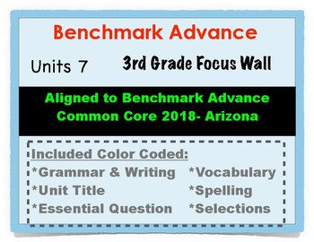 Benchmark Advance 3rd Grade Unit 7 Focus Wall Arizona Common Core