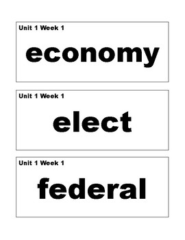 Benchmark Advance 4th (Fourth) grade vocabulary cards-simple style