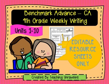 Benchmark Advance 4th Grade Bundle - EDITABLE RESOURCE SHEETS ONLY