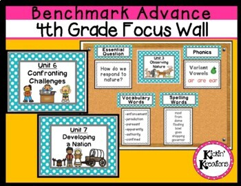 Benchmark Advance 4th Grade Focus Wall Posters Units 1-10