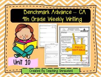Benchmark Advance 4th Grade Unit 10 Weekly Writing