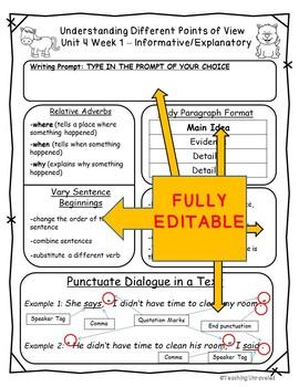 Benchmark Advance 4th Grade Unit 4 Weekly Writing