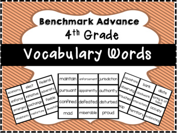 Benchmark Advance 4th Grade Vocabulary Words Flash Cards