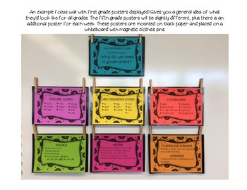 Benchmark Advance 5th (FIFTH) Grade Focus Wall Posters UNITS 1-10 BUNDLE!!