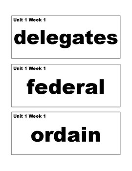 Benchmark Advance 5th (Fifth) Grade Vocabulary Cards-Simple Style