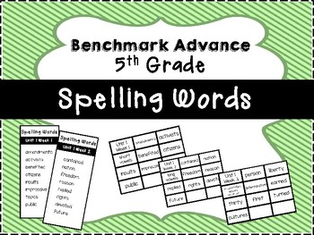 Benchmark Advance 5th Grade Spelling Word Lists and Flash Cards