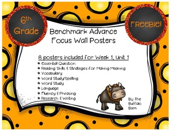 Benchmark Advance 6th (SIXTH) Grade Focus Wall Posters FREEBIE