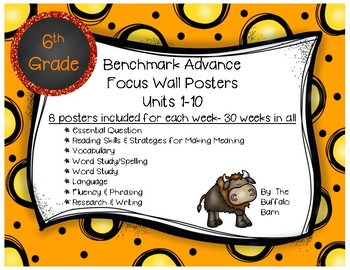 Benchmark Advance 6th (SIXTH) Grade Focus Wall Posters UNITS 1-10 BUNDLE!!