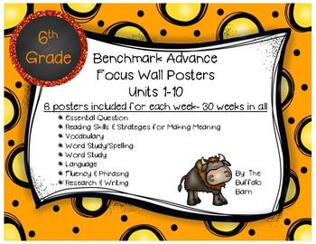 Benchmark Advance 6th (SIXTH) Grade Focus Wall Posters UNITS 1-10 BUNDLE!!