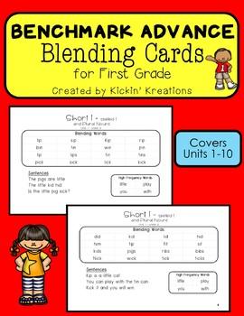 Benchmark Advance Blending Cards for 1st Grade Units 1-10