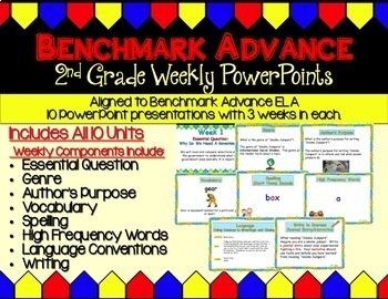 Benchmark Advance  PPT Bundle for Second Grade (PPT, Writing, Vocab, Language)
