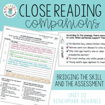 Benchmark Advance Close Reading Companions (Fifth Grade, Unit 10)