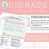 Benchmark Advance Close Reading Companions (Third Grade, Unit 7)