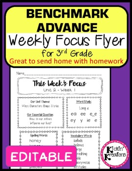 Benchmark Advance EDITABLE Weekly Focus Flyer for 3rd Grade