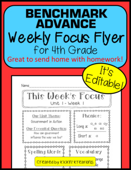 Benchmark Advance EDITABLE Weekly Focus Flyer for 4th Grade