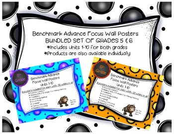 Benchmark Advance (FIFTH & SIXTH) Grade Focus Wall Posters UNITS 1-10 BUNDLE!!