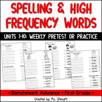 Benchmark Advance, First (1st) Grade, Spelling and High Frequency Word Practice