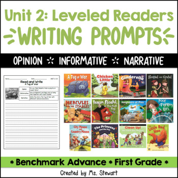 Benchmark Advance, First (1st) Grade, Unit 2, Leveled Readers Writing Prompts