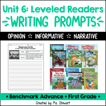 Benchmark Advance - First Grade - Unit 6, Leveled Readers Writing Prompts