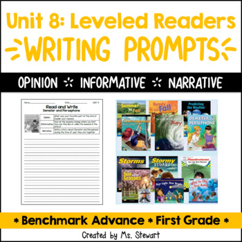 Benchmark Advance, First (1st) Grade, Unit 8, Leveled Readers Writing Prompts