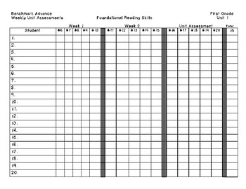 Benchmark Advance First Grade Assessment Grade Sheets Unit 1