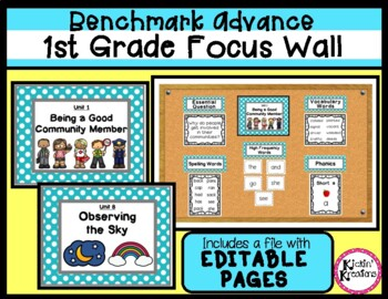 Benchmark Advance 1st Grade Focus Wall Posters (Ca. and National)