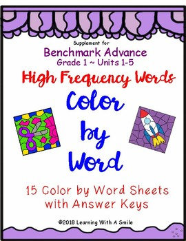 Benchmark Advance First Grade HIGH FREQUENCY Color by Word Units 1-5