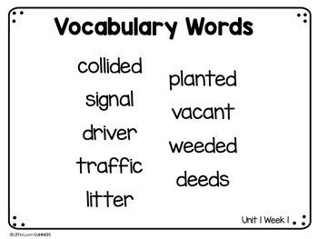Benchmark Advance First Grade Vocabulary Word Cards Bundle Units 1-10