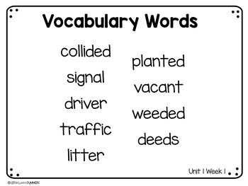 Benchmark Advance First Grade Vocabulary Word, Picture & Definition Cards Unit 1