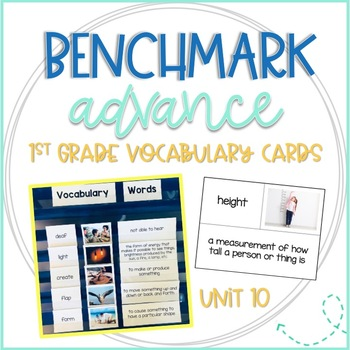 Benchmark Advance First Grade Vocabulary Word, Picture, Definition Cards Unit 10