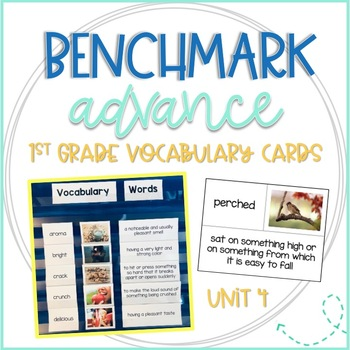 Benchmark Advance First Grade Vocabulary Word, Picture & Definition Cards Unit 4