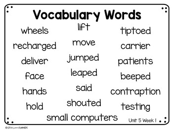 Benchmark Advance First Grade Vocabulary Word, Picture & Definition Cards Unit 5