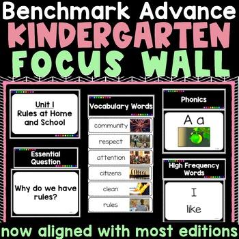 Benchmark Advance Kindergarten Focus Wall  - Units 1-10 with Editable Vocabulary