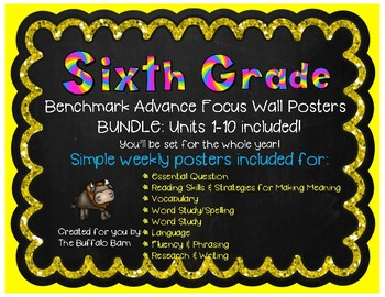 Benchmark Advance Focus Wall Posters for SIXTH Grade (California)