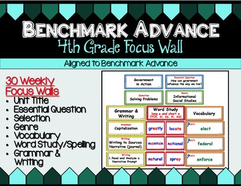 Benchmark Advance Focus Wall for Fourth (4th) Grade Units 1 - 10