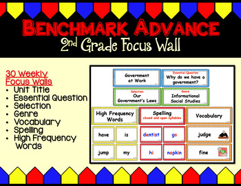 Benchmark Advance (Ca.) Focus Wall for Second Grade - Units 1 - 10