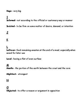 Benchmark Advance Glossary for Units 6-8