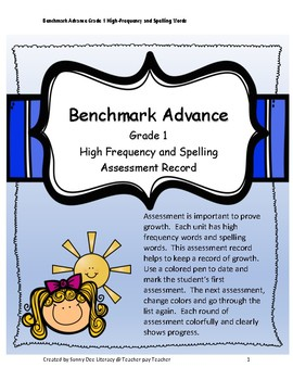 Benchmark Advance Grade 1 High Frequency and Spelling Assessment Record