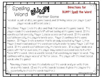 Benchmark Advance Grade 1 – SPELLING WORD BUMP! Partner Game - Center Time Fun!