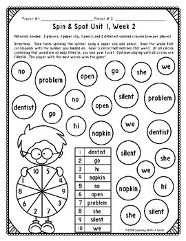 Benchmark Advance Grade 2 ~ Spelling Words ~SPIN & SPOT ~ Units 1-10