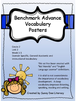 Benchmark Advance Grade 2 Unit 3 Vocabulary Posters