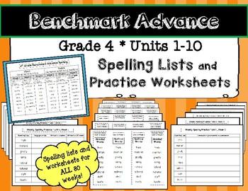 benchmark advance grade 4 spelling lists and practice worksheets units 1 10. Black Bedroom Furniture Sets. Home Design Ideas