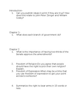 Benchmark Advance-Grade 5-Amending the Constitution Vocabulary and Comprehension