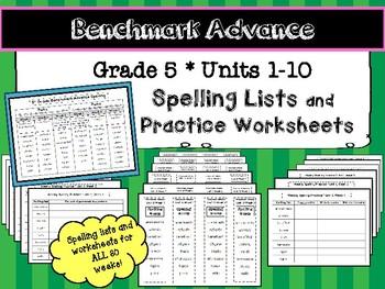 benchmark advance grade 5 spelling lists and practice worksheets units 1 10. Black Bedroom Furniture Sets. Home Design Ideas
