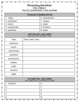 Benchmark Advance Grade 5 Weekly Spelling/Vocabulary Activities (Unit 1)