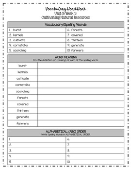 Benchmark Advance Grade 5 Weekly Spelling/Vocabulary Activities (Unit 3)