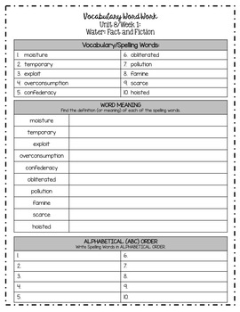 Benchmark Advance Grade 5 Weekly Spelling/Vocabulary Activities (Unit 8)