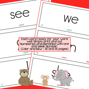 Benchmark Advance HFW & Spelling Words Visuals and Cards - Kinder