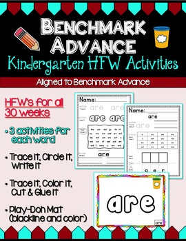 Benchmark Advance Kindergarten High Frequency Word Activities (B.A. Companion)